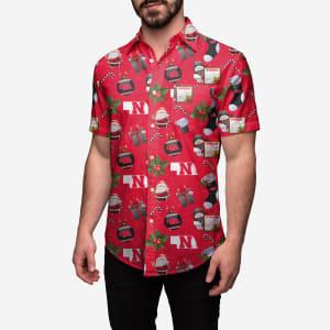 Nebraska Cornhuskers Christmas Explosion Button Up Shirt - XL