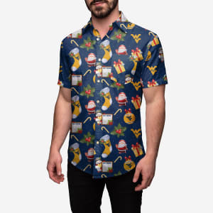 West Virginia Mountaineers Christmas Explosion Button Up Shirt - L