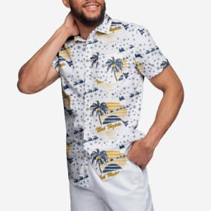 West Virginia Mountaineers Winter Tropical Button Up Shirt - L