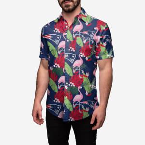 New England Patriots Floral Button Up Shirt - XL