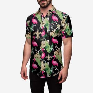 New Orleans Saints Floral Button Up Shirt - L