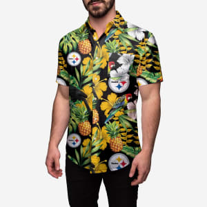 Pittsburgh Steelers Floral Button Up Shirt - 3XL