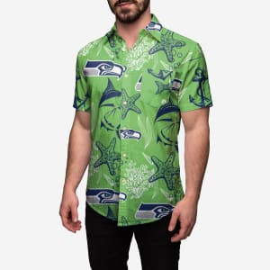 Seattle Seahawks Floral Button Up Shirt - 2XL