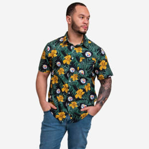 Pittsburgh Steelers Hibiscus Button Up Shirt - L