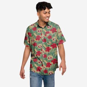 San Francisco 49ers Hibiscus Button Up Shirt - XL