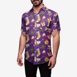 Minnesota Vikings Christmas Explosion Button Up Shirt - 2XL