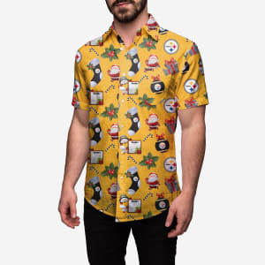 Pittsburgh Steelers Christmas Explosion Button Up Shirt - M