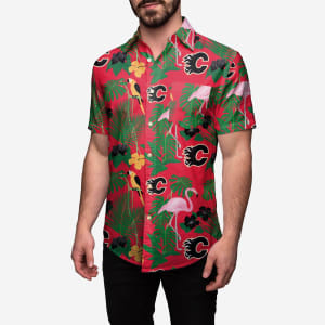 Calgary Flames Floral Button Up Shirt - 2XL