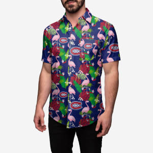 Montreal Canadiens Floral Button Up Shirt - 2XL