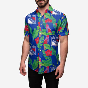 New York Rangers Floral Button Up Shirt - M