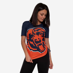 Chicago Bears Womens Ruched Replay Short Sleeve Top - L