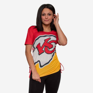 Kansas City Chiefs Womens Ruched Replay Short Sleeve Top - L