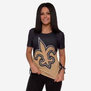 New Orleans Saints Womens Ruched Replay Short Sleeve Top - S