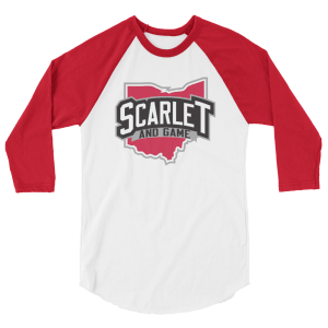 Scarlet and Game 3/4 sleeve raglan shirt
