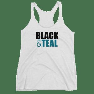 Women's Black and Teal Racerback Tank