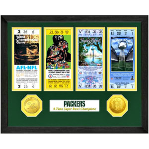 Green Bay Packers Super Bowl Ticket Collection Wall Frame
