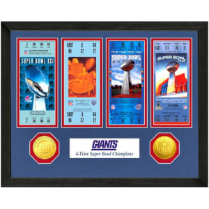 New York Giants Super Bowl Ticket Collection Wall Frame