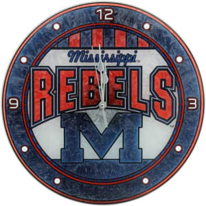 Mississippi Rebels 12'' Art Glass Wall Clock
