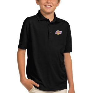 Los Angeles Lakers Antigua Youth Pique Desert Dry X-tra Lite Polo - Black