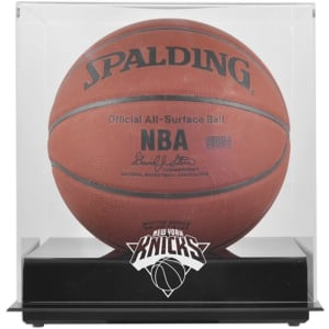 New York Knicks Fanatics Authentic Black Base Team Logo Basketball Display Case with Mirrored Back