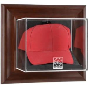 Philadelphia 76ers Fanatics Authentic Team Logo Brown Framed Wall-Mountable Cap Display Case