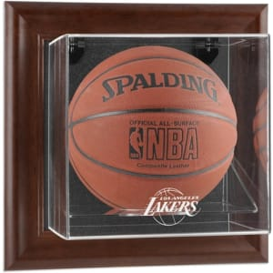 Los Angeles Lakers Fanatics Authentic Brown Framed Wall-Mountable Team Logo Basketball Display Case