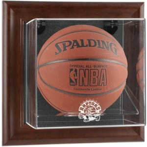 Toronto Raptors Fanatics Authentic Brown Framed Wall-Mounted Hardwood Classics 1995 - 2015 Logo Basketball Display Case