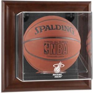 Miami Heat Fanatics Authentic Brown Framed Wall-Mountable Team Logo Basketball Display Case