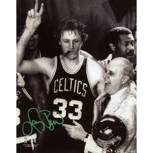 "Larry Bird Boston Celtics Fanatics Authentic Autographed 8"" x 10"" Cigar Celebration with Red Photograph"