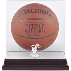 Miami Heat Fanatics Authentic Mahogany Team Logo Basketball Display Case with Mirrored Back