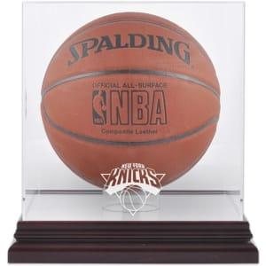 New York Knicks Fanatics Authentic Mahogany Team Logo Basketball Display Case with Mirrored Back