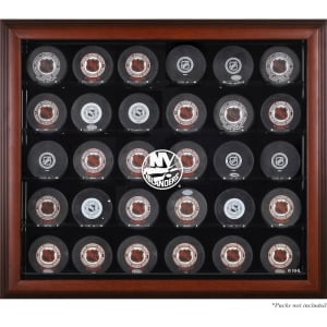 New York Islanders Fanatics Authentic 30-Puck Mahogany Display Case