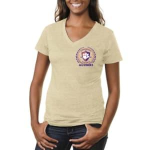 Clemson Tigers Women's Alumni Crest Tri-Blend V-Neck T-Shirt - Oatmeal