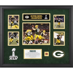 Green Bay Packers Fanatics Authentic Framed Super Bowl XLV Champions Photograph Collage with Game-Used Football