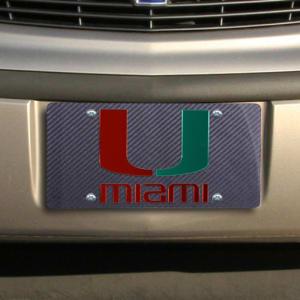 Miami Hurricanes Carbon Fiber License Plate