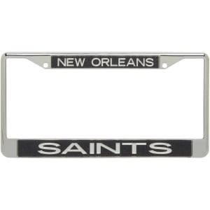 New Orleans Saints Glitter License Plate Frame - Black