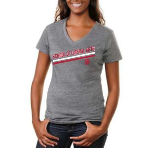Indiana Hoosiers Women's Rising Bar Tri-Blend V-Neck T-Shirt - Ash