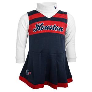 Houston Texans Toddler Girls Jumper Turtleneck Cheer Dress - Navy Blue/White