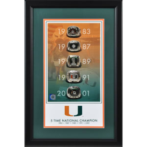 """Miami Hurricanes Fanatics Authentic Framed 10"""" x 18"""" 5-Time National Champions Legacy Print"""