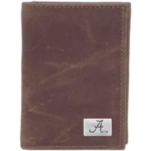 Alabama Crimson Tide Concho Leather Tri-Fold Wallet - Brown