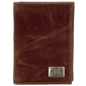 Ohio State Buckeyes Leather Tri-Fold with Concho - Brown