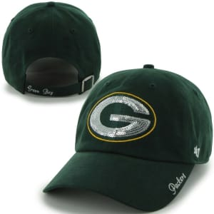 Women's Green Bay Packers '47 Brand Green Sparkle Clean Up Adjustable Hat