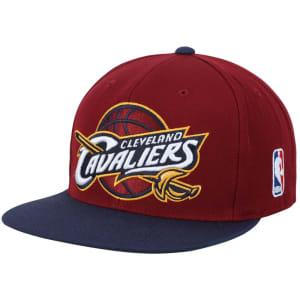 Mitchell & Ness Cleveland Cavaliers XL Logo 2-Tone Snapback Adjustable Hat - Wine/Navy