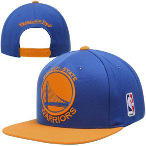 Mitchell & Ness Golden State Warriors XL Logo 2-Toned Snapback Hat - Royal Blue/Gold