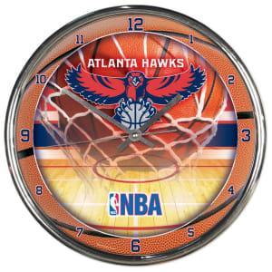 Atlanta Hawks 12'' Round Chrome Clock