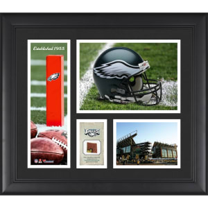 """Philadelphia Eagles Fanatics Authentic Framed 15"""" x 17"""" Team Logo Collage with Piece of Game-Used Football"""
