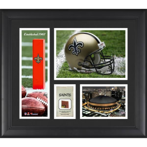 """New Orleans Saints Fanatics Authentic Framed 15"""" x 17"""" Team Logo Collage with Piece of Game-Used Football"""
