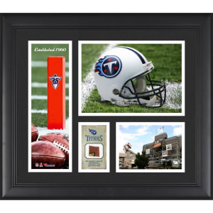 """Tennessee Titans Fanatics Authentic Framed 15"""" x 17"""" Team Logo Collage with Piece of Game-Used Football"""