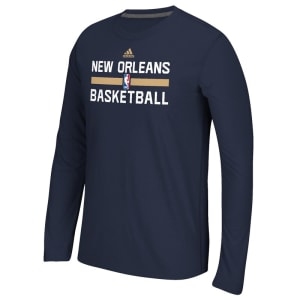 New Orleans Pelicans adidas Youth Practice ClimaLITE Long Sleeve T-Shirt - Navy Blue