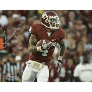 "Kenny Stills Oklahoma Sooners Fanatics Authentic Autographed 8"" x 10"" Crimson Uniform With Ball Photograph"